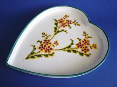 Rare Wemyss Ware 'Flower Spray' Heart Shaped Tray c1900